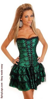 SpicyLegs.com - Emerald Lace Corset Dress