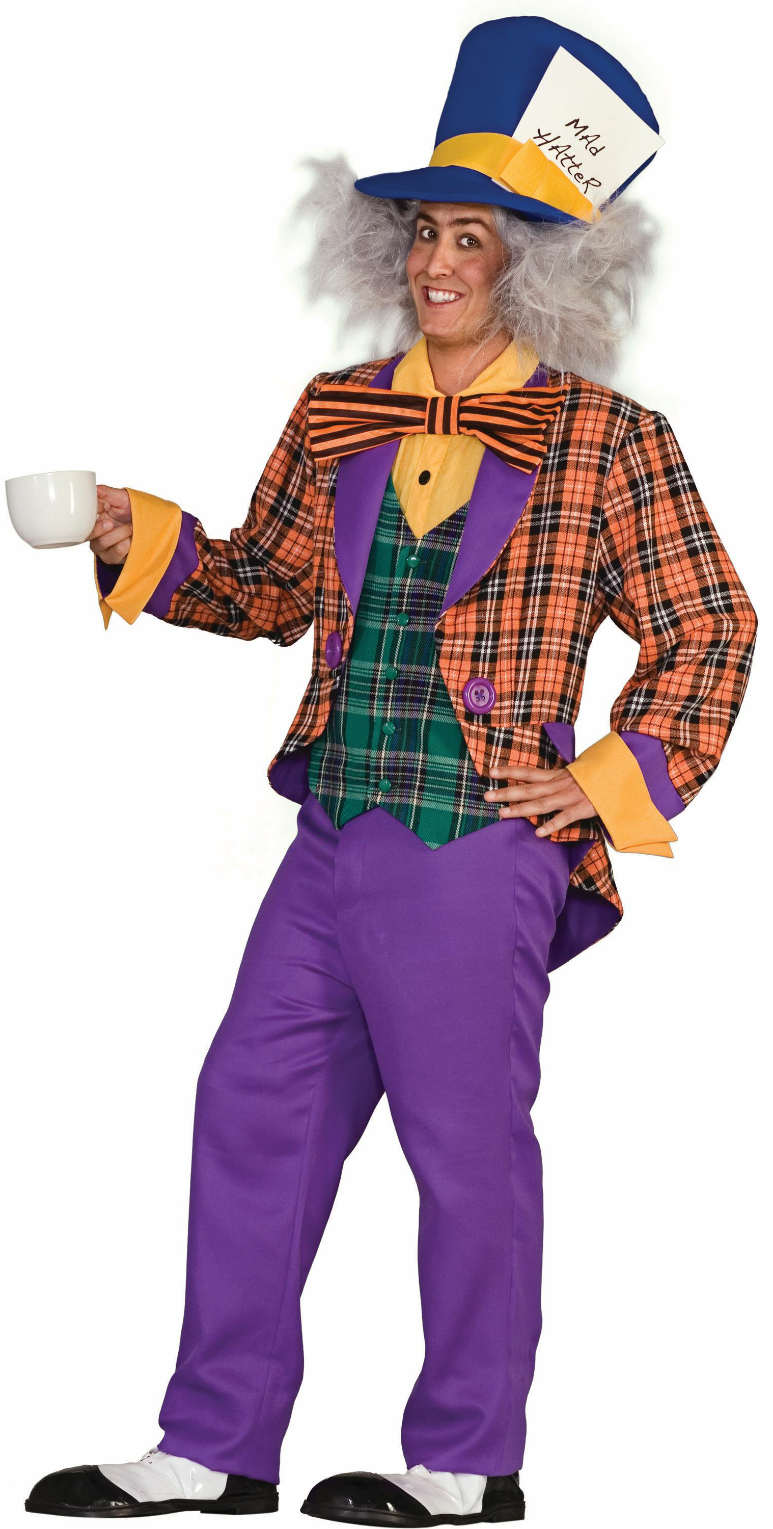 Men's Plaid Mad Hatter Adult Costume - Purple - One Size Fits Most Adults BS-195677