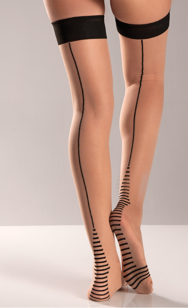 Women's Nude Cuban Heel Thigh Highs - Nude - O/S BW-BW564
