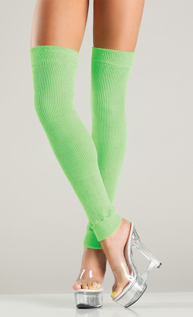 Women's Acrylic thigh high leg warmer - Neon Green - O/S BW-BW711NG