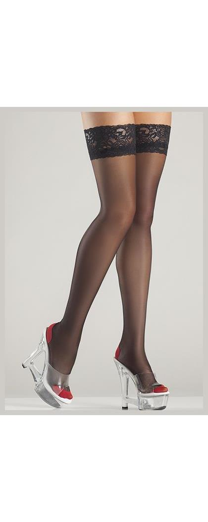 Women's Cuban Heel Thigh High Stockings - Black/Red - O/S BW-BW720