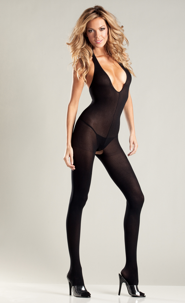 Black Opaque Halter Top Crotchless Body Stocking