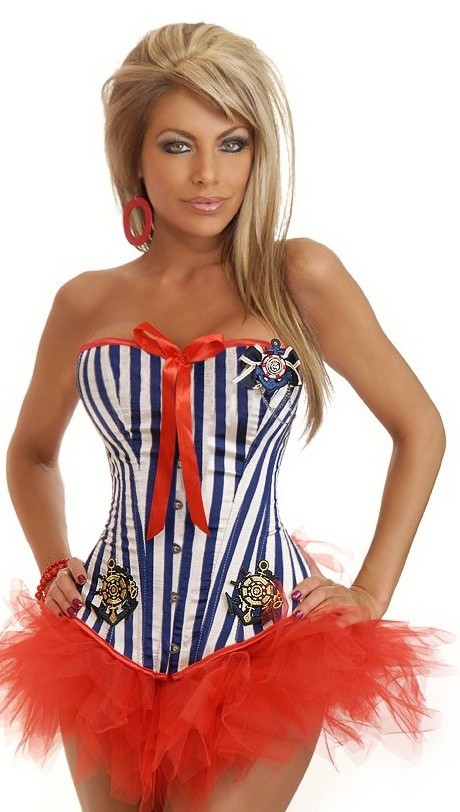 Women's 2 PC Pin-Up Sailor Costume - Blue - 2X SL-49008