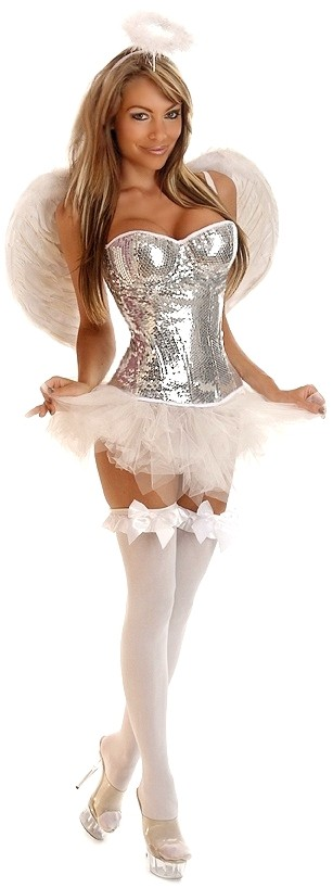 Women's 4 PC Glitter Angel Costume - 2X SL-65788