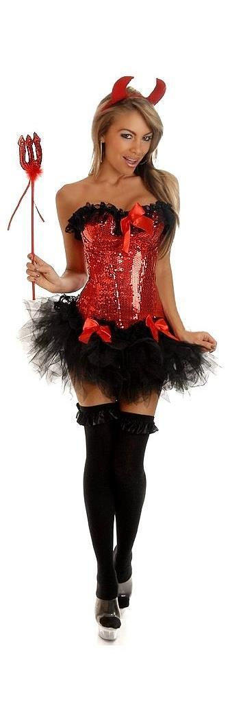 Women's 4 PC Pin-Up Devil Costume - 2X SL-65947