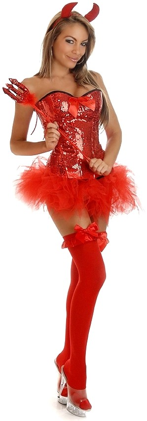 Women's 4 PC Pin-Up Sequin Devil Costume - 2X SL-65966
