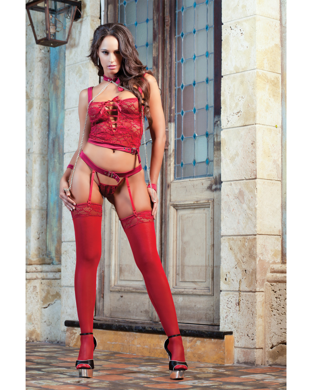 Women's Secret Lover Lingerie Set w/Open Back Garter Panty, Necklace Wrist Chains and Stockings Red - OS ED-GW1420-RD-OS