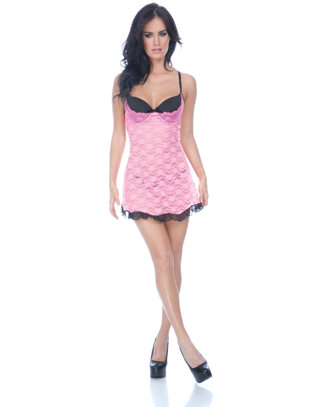 Women's Floral Lace Babydoll and Panty Black/Pink - L ED-PP5744-BP-X0