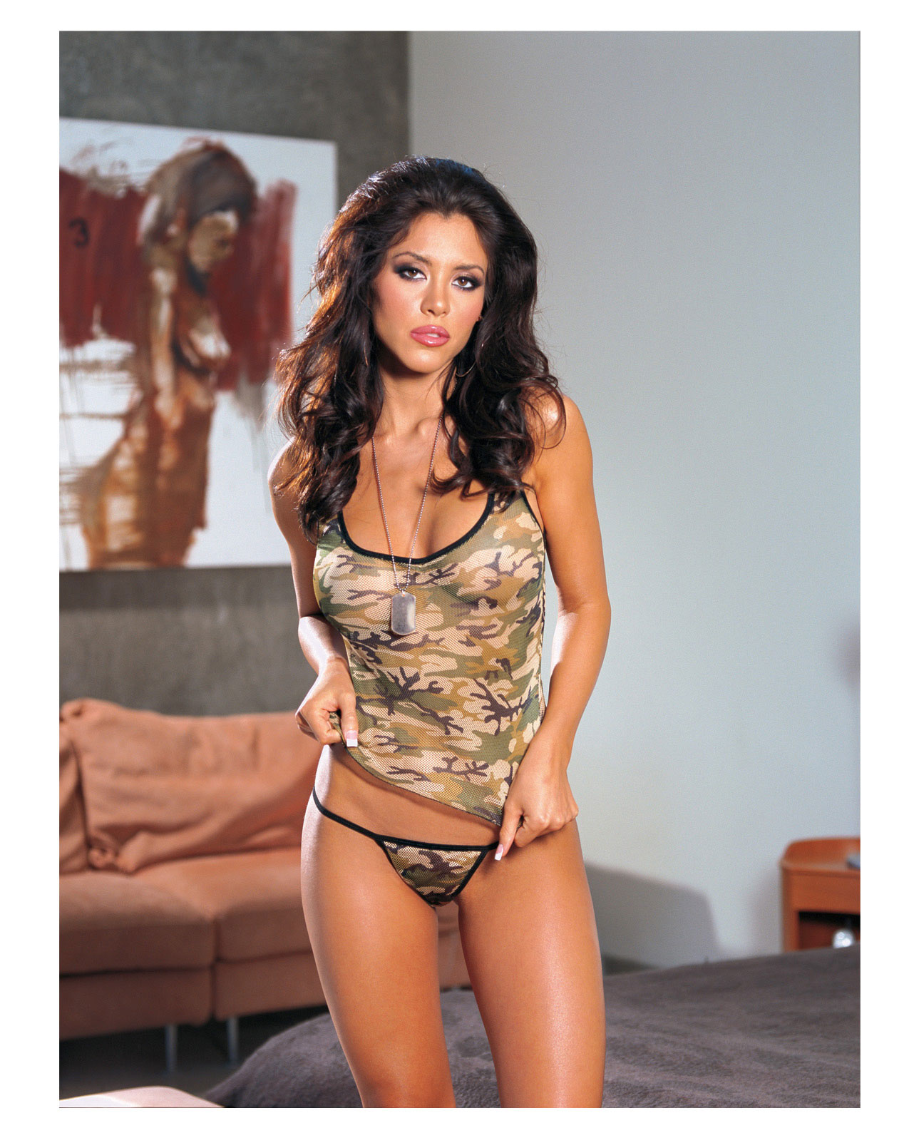 Women's Camouflage print lycra net cami & thong - One Size ED-RD4247G