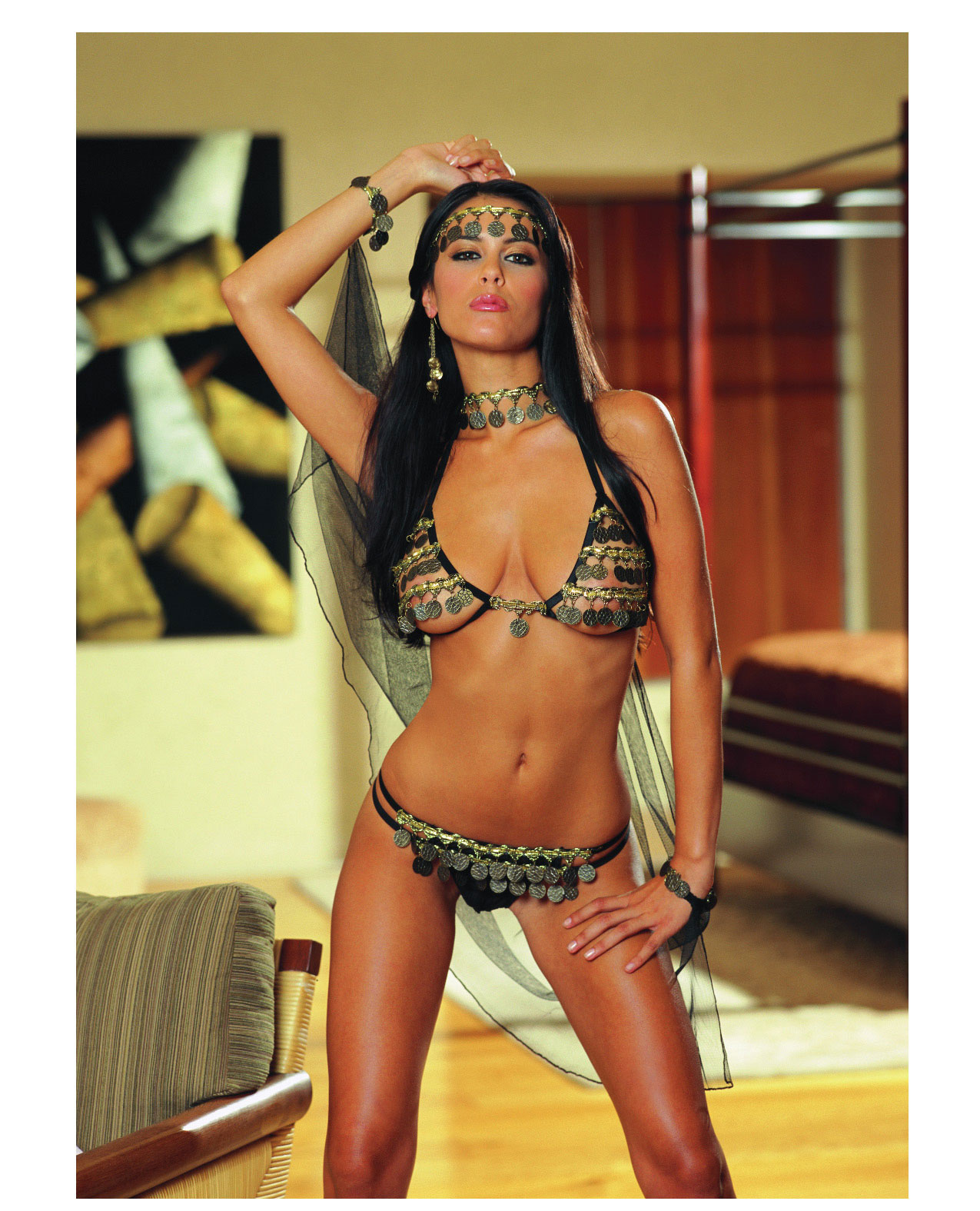 Women's 4 pc Gypsy Dancer Coin Bra Top with G-String - One Size ED-RD5012-OS