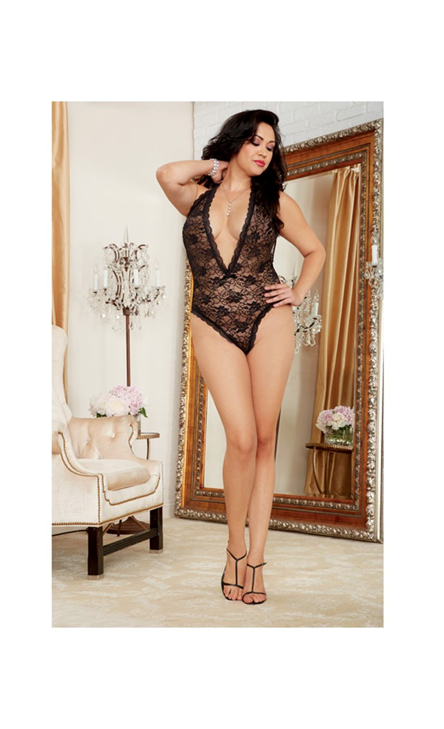 46819b816 ... Dreamgirl Women s Plus-Size Seductive Bride Lace Teddy with Heart UPC  888368048168 product image for Women s Halter Stretch Lace Teddy w Plunging  ...