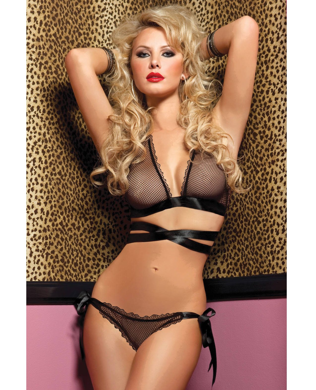 Women's Fishnet Cross Front and Back Bra, and Side Tie Panty Black - OS ED-STM9585-BK-OS