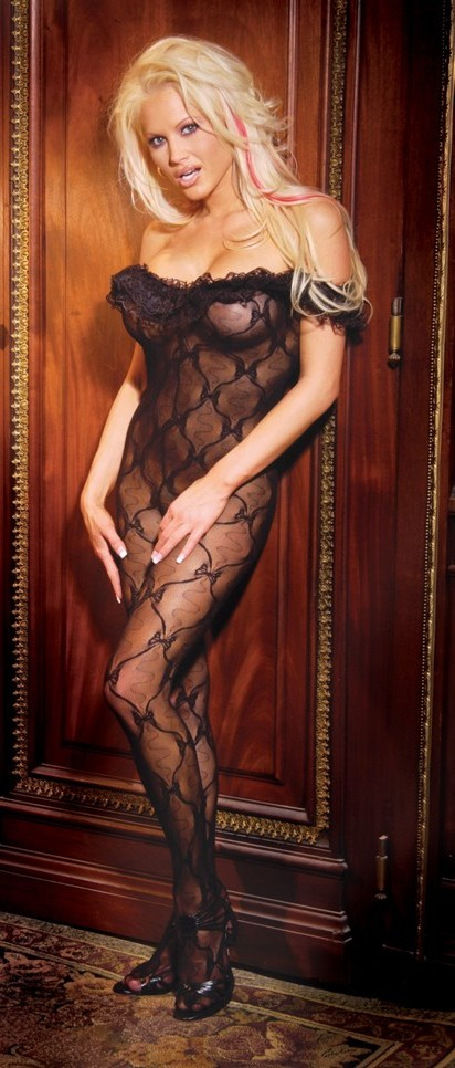 c09ee1cbd ... UPC 846073001021 product image for Women s Bodystocking with a ruffle  top - BLACK - One Size