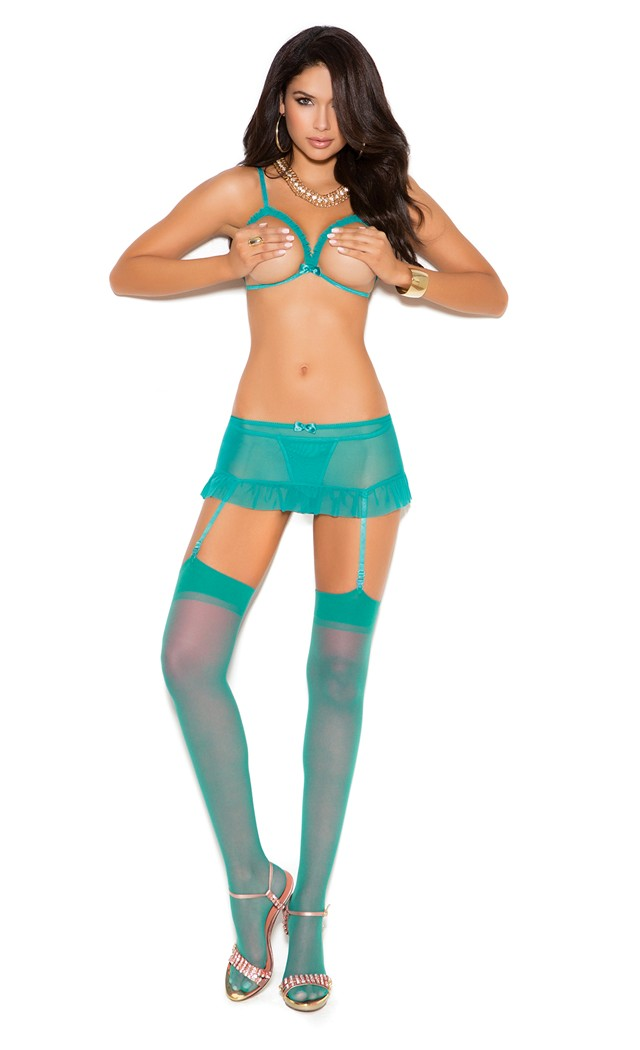 Women's Mesh cupless bra with adjustable straps and hook and eye back closure - Jade - L SL-116441
