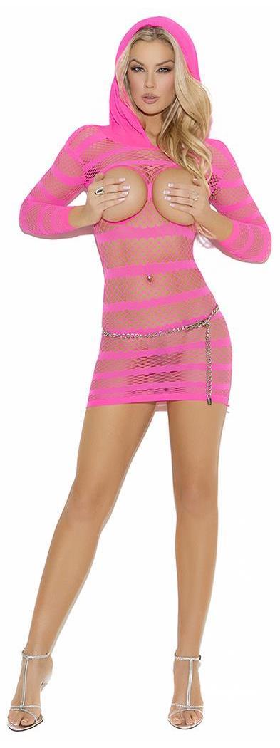 Hooded Open Bust Mini Dress Spicylegs Com