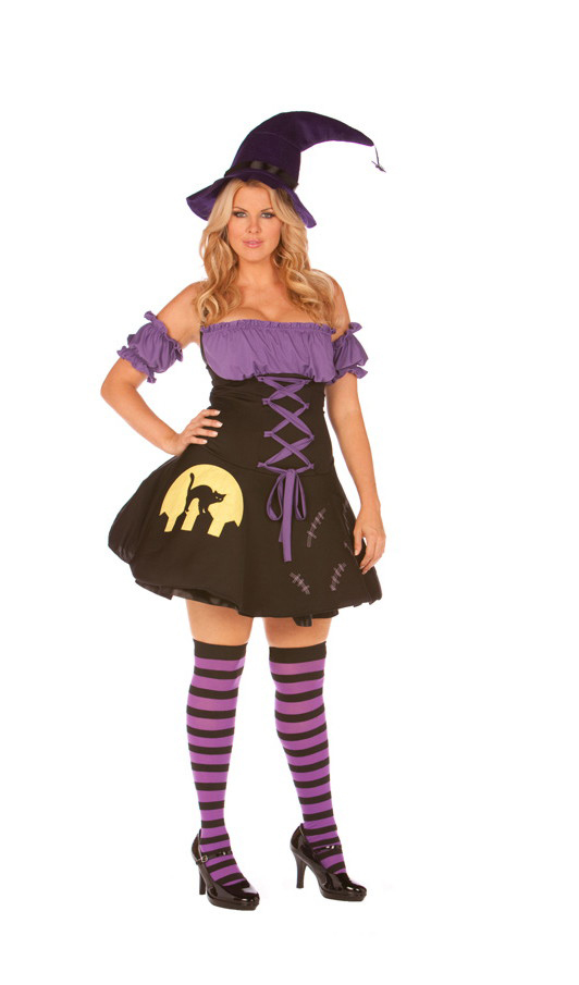 Women's 4 pc. Moonlight Witch costume - BLACK/PURPLE - 1X/2X SL-53580