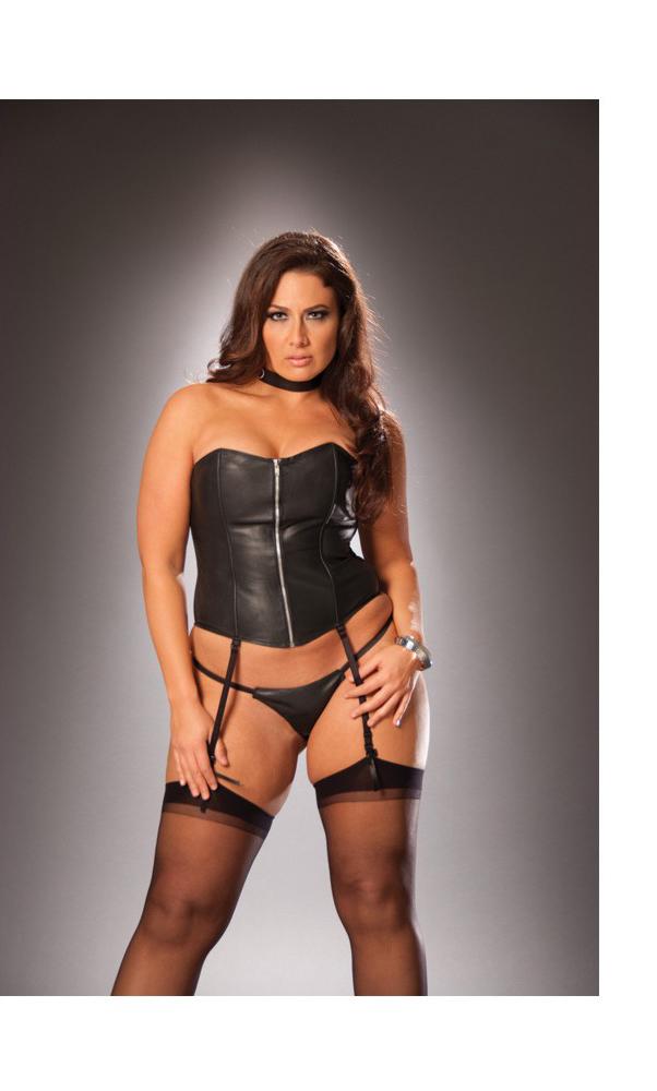 Women's Zip up leather strapless corset - BLACK - 44 SL-46488