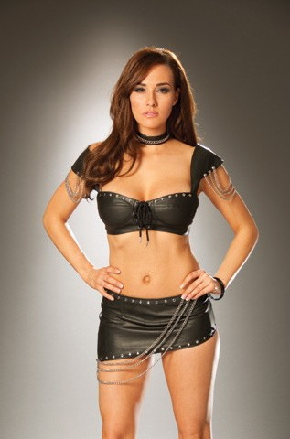 Women's Leather bra top with chain detail and adjustable hook and eye closure - BLACK - 34 SL-52435