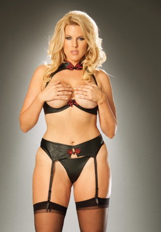 Women's Underwire leather cupless bra with collar - BLACK - Queen Size SL-52454
