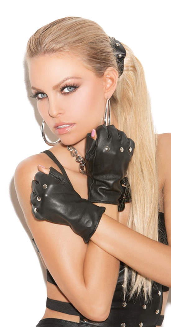 Women's Leather Fingerless Gloves with Nail Heads - BLACK - One Size SL-75714