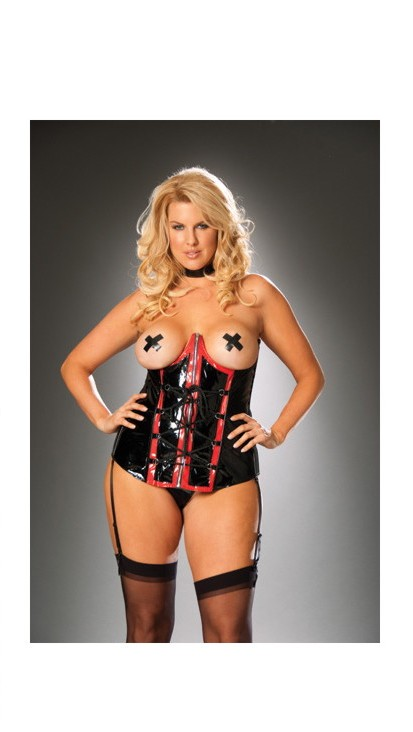 Women's Vinyl cupless corset with zip front and detachable garters - BLACK/RED - 44 SL-52523