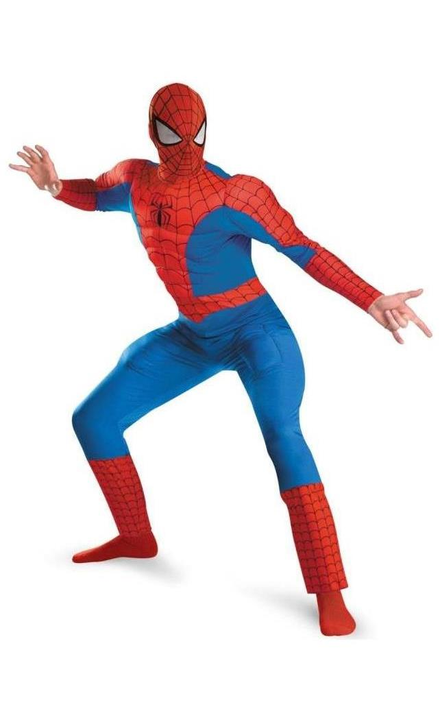 Men's Spider-Man Deluxe And Muscle Red Costume - Red, Black, Blue - 42-46 MC-DG50188C