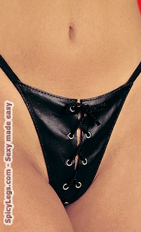 Women's Leather Lace Up G-String - One Size