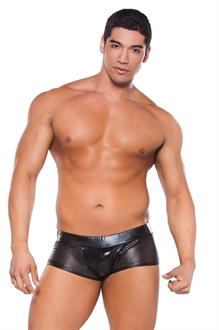 Men's Wet Look Shorts - BLACK - One Size