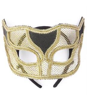 Women's Gold Netted Mask - Gold - One-Size