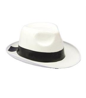 Men's White Gangster Hat - White - One Size