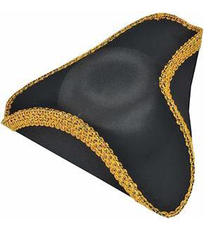 Men's Deluxe Colonial Tricorn Hat - Black - One Size