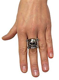 Women's Adjustable Skull Ring with Pewter Finish - Silver - One-Size