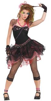 Women's 80's Diva Adult Costume - Black - One-Size (up to size 12)