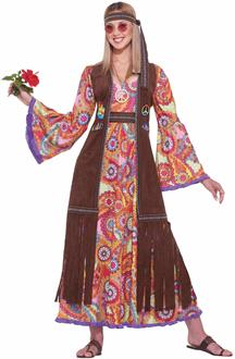 Women's Hippie Love Child Adult Costume - Brown for Halloween