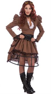 Women's Steampunk Vicky Adult Costume - Brown - One-Size (Standard)