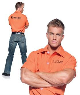 Men's Prisoner Shirt Adult Costume for Halloween