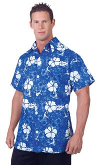 Men's Blue Hawaiian Shirt Adult Costume for Halloween