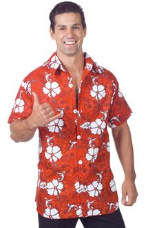 Men's Red Hawaiian Shirt Adult Costume for Halloween