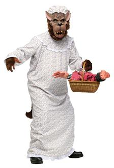 Men's Big Bad Granny Wolf Adult Costume - White/Brown for Halloween