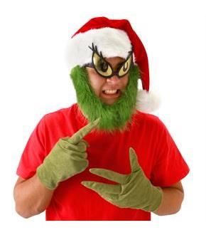 Women's Dr. Seuss Grinch Hat with Beard Adult - Red & Green