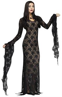 Women's Lace Morticia Adult Costume for Halloween