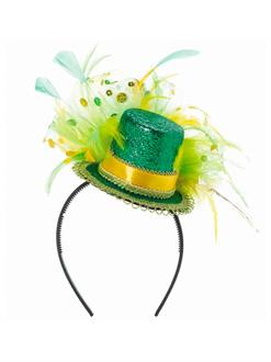 Women's Green Feathered Mini Top Hat Headband - Green - One-Size