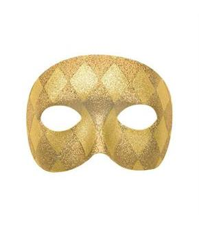 Women's Mardi Gras Harlequin Domino Mask - Gold - One-Size