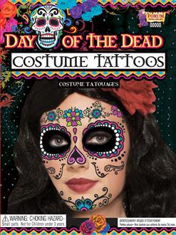 Women's Day of the Dead Female Tattoo Face - Adult - One Size
