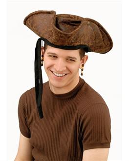 Men's Brown Distressed Adult Pirate Hat with Beads