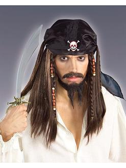 Men's Caribbean Pirate Wig Adult