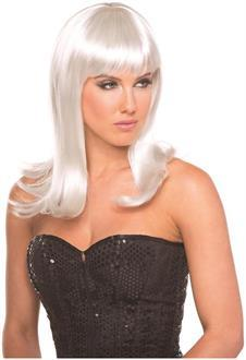 Women's Solid Color Hollywood Wig - White - O/S
