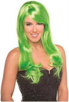 Women's Solid Color Burlesque Wig - Green - O/S