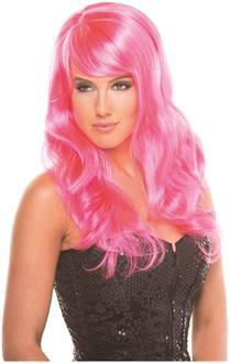 Women's Solid Color Burlesque Wig - Hot Pink - O/S