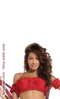 Women's Off-shoulder mini scrunch top - Red - O/S